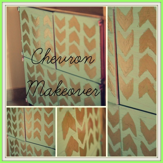 Chevron Makeover on a Towel Cabinet