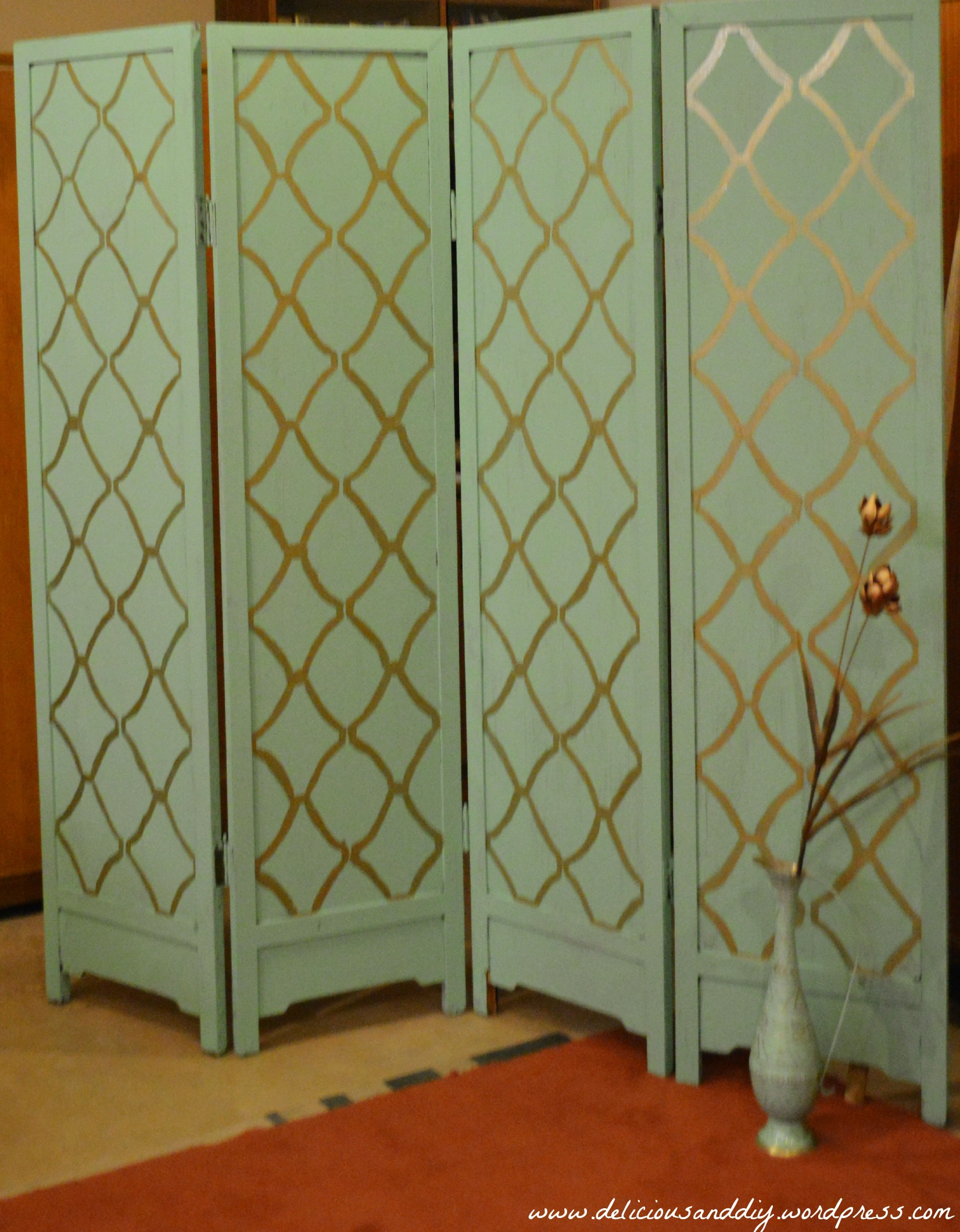 Room divider makeover with hand stenciling before and after delicious and diy - Room divider ...