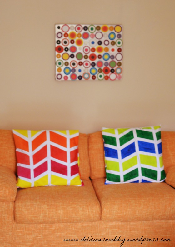 orange and gree pillow